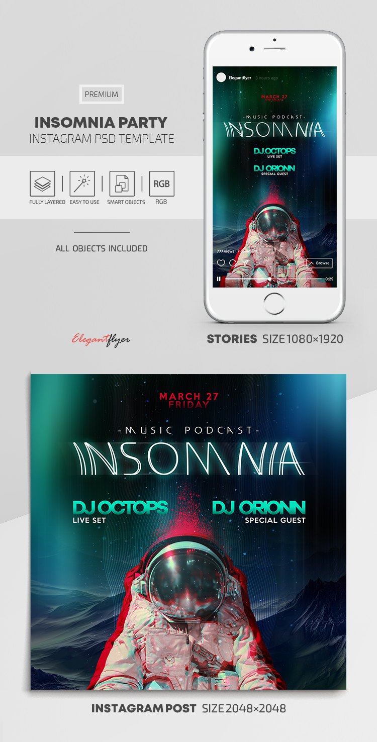 Insomnia Party – Instagram Stories Template in PSD + Post Templates