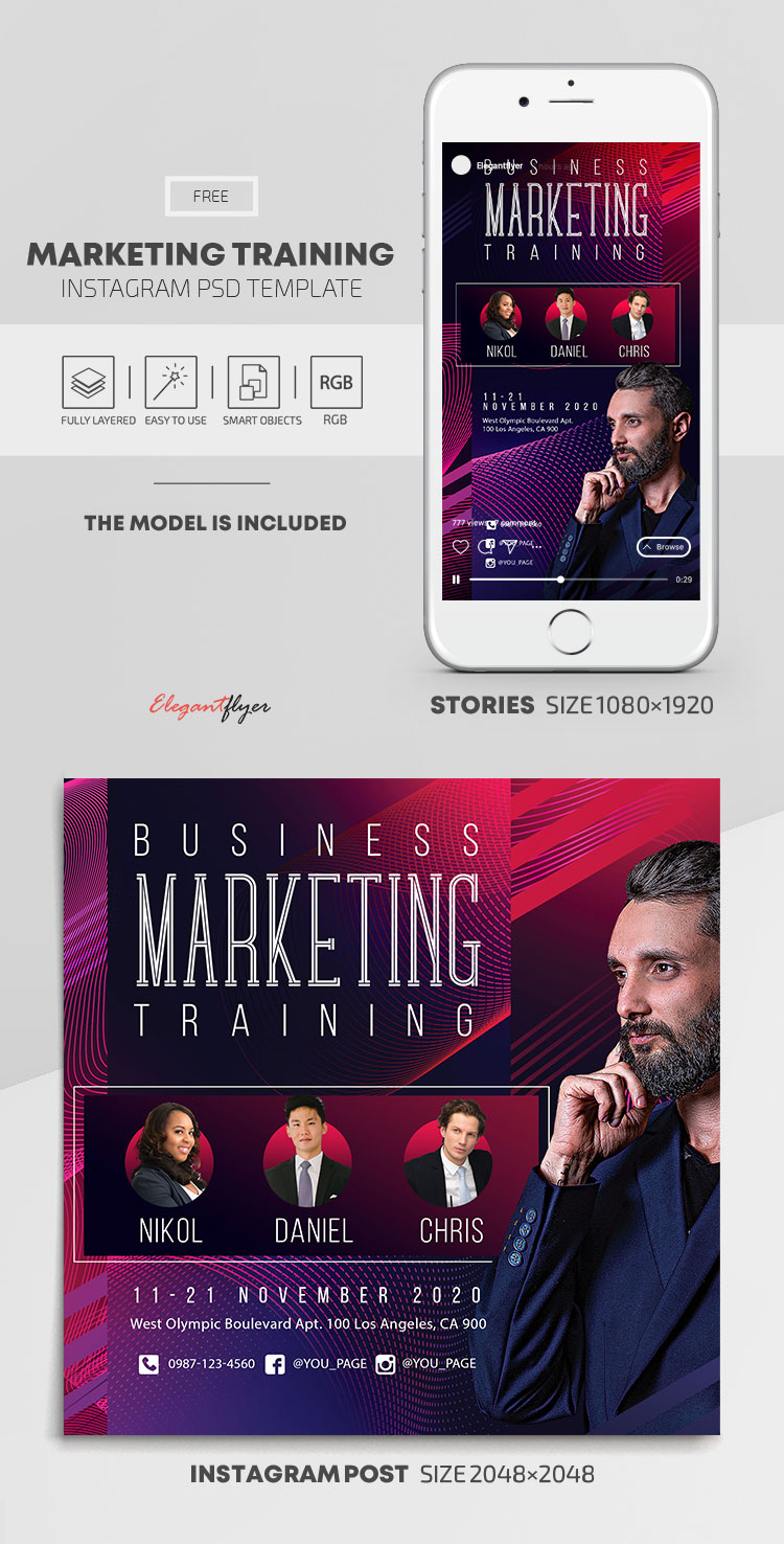 Marketing Training – Free Instagram Stories Template in PSD + Post Templates