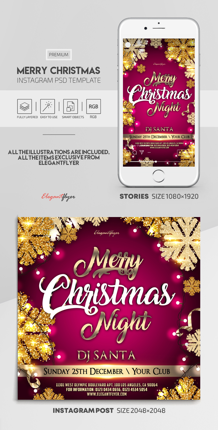 Merry Christmas Night – Instagram Stories Template in PSD + Post Templates