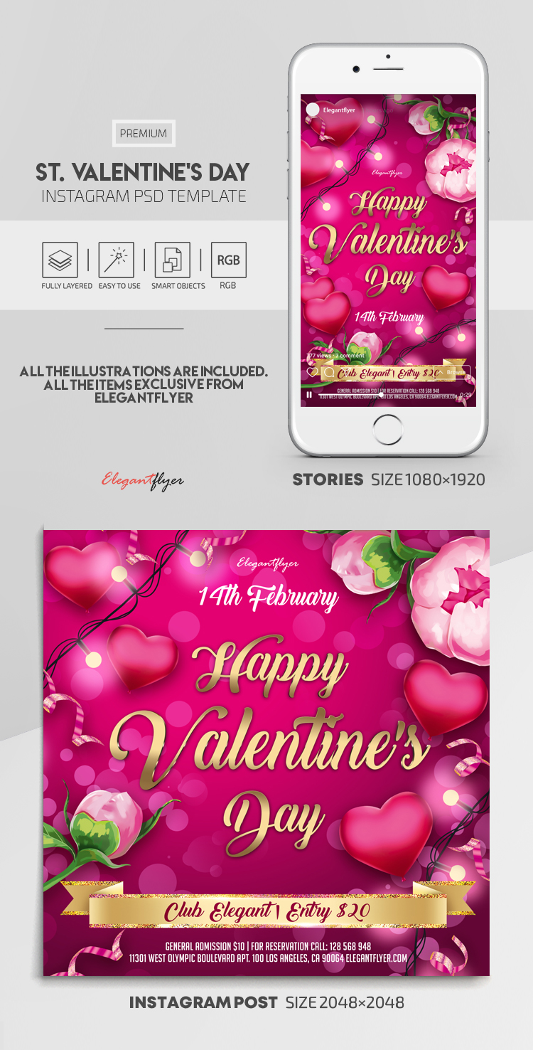 St. Valentine's Day – Instagram Stories Template in PSD + Post Templates