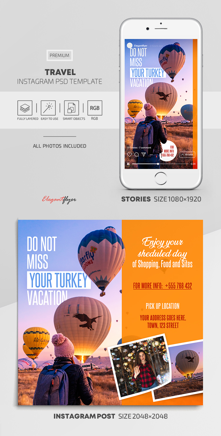 Travel – Instagram Stories Template in PSD + Post Templates