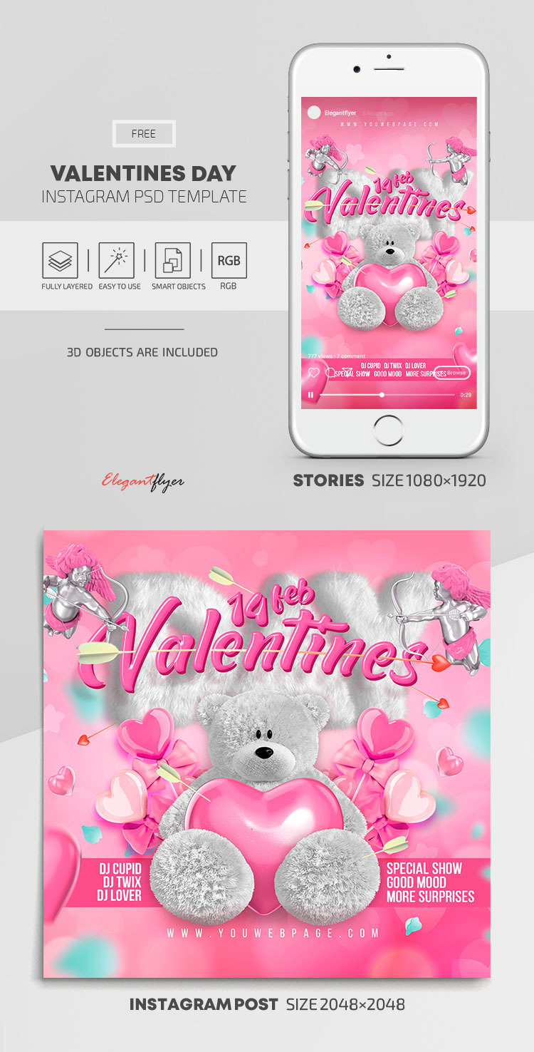 Valentines Day – Free Instagram Stories Template in PSD + Post Templates