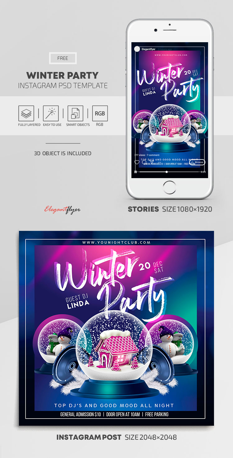 Winter Party – Free Instagram Stories Template in PSD + Post Templates