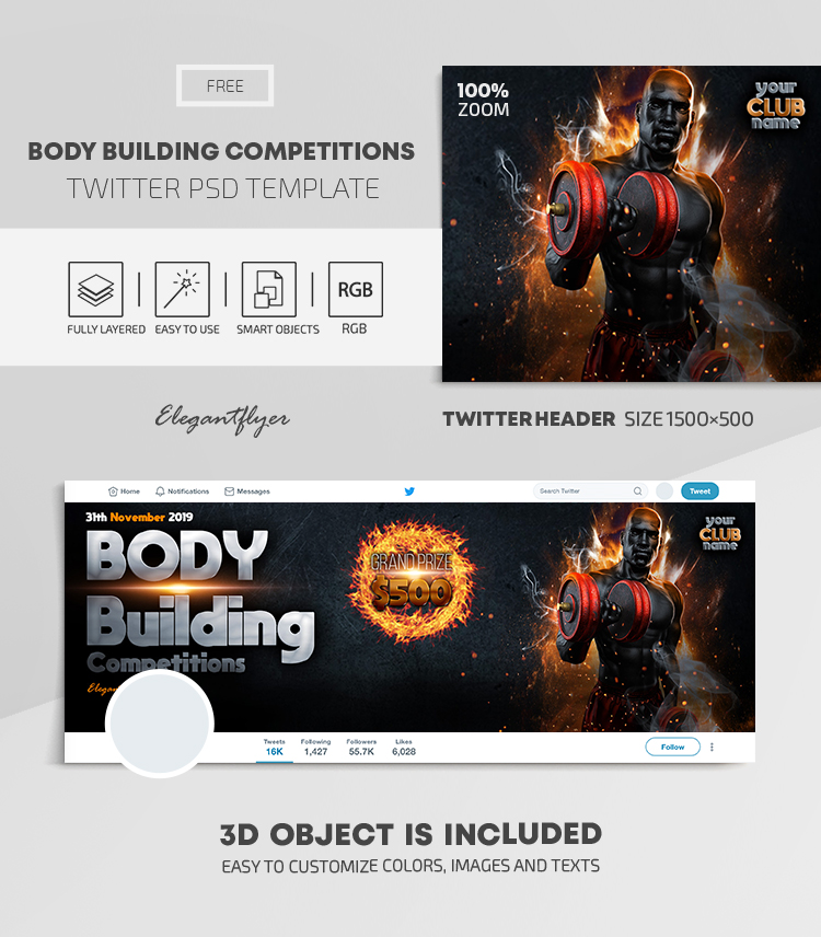 Body Building Competitions – Free Twitter Header PSD Template