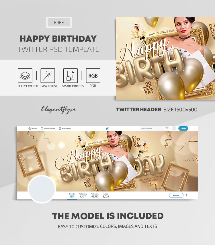 Happy Birthday – Free Twitter Header PSD Template