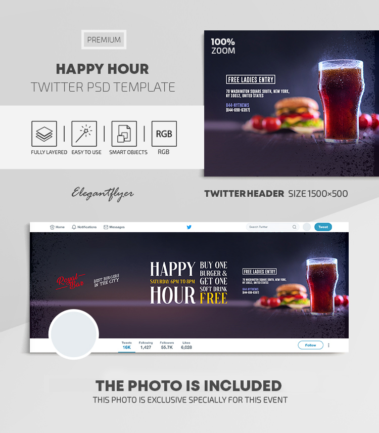 Happy Hours – Twitter Header PSD Template