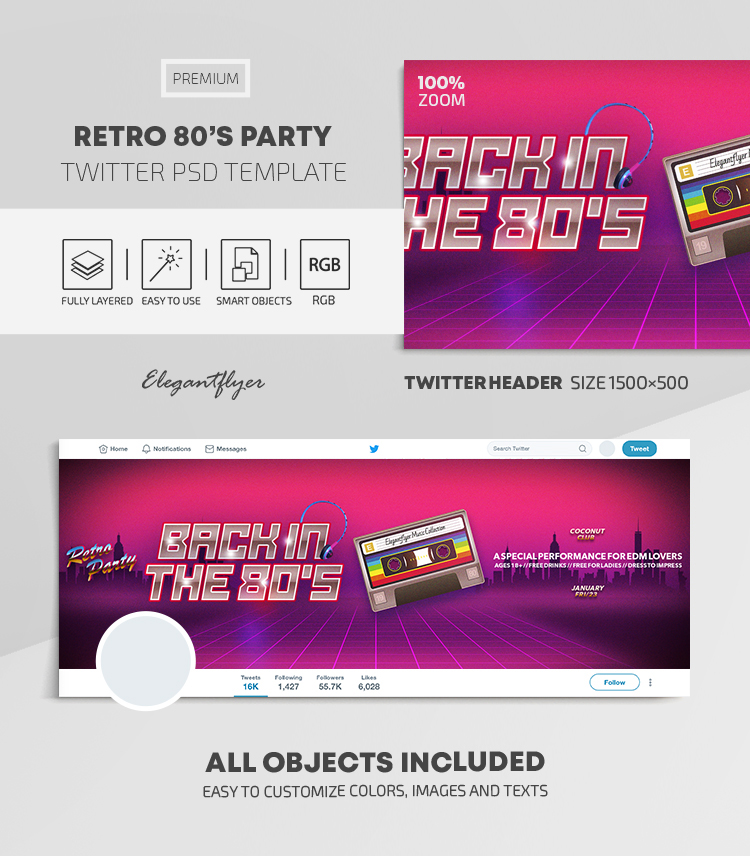 Retro 80's Party – Twitter Header PSD Template