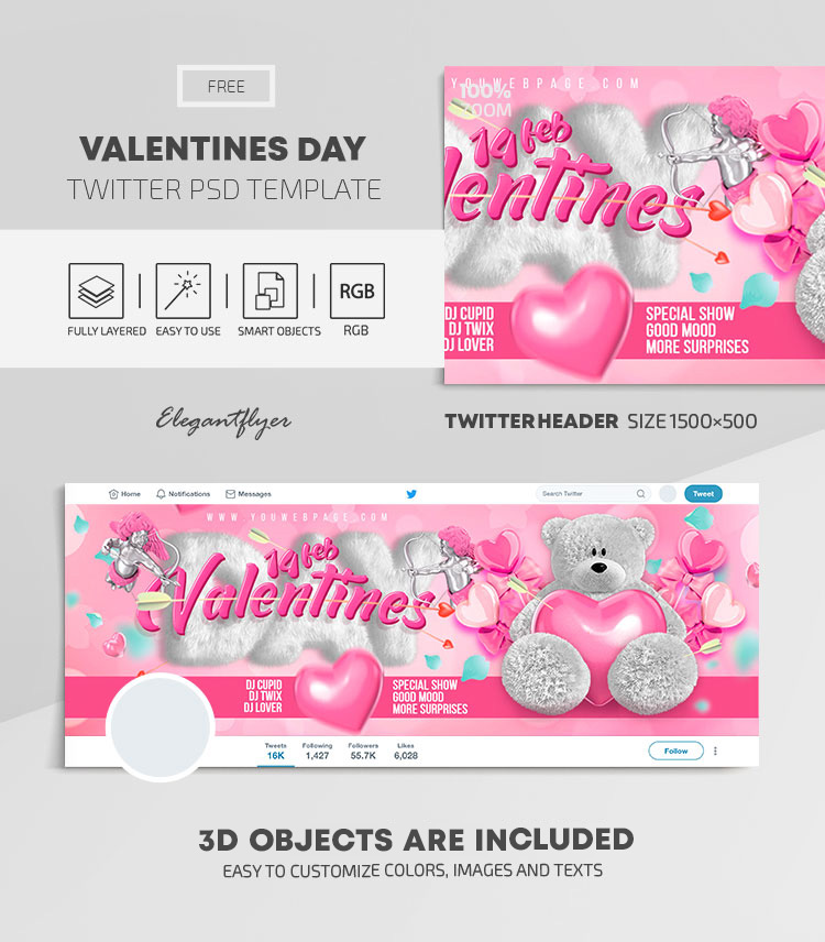 Valentines Day – Free Twitter Header PSD Template