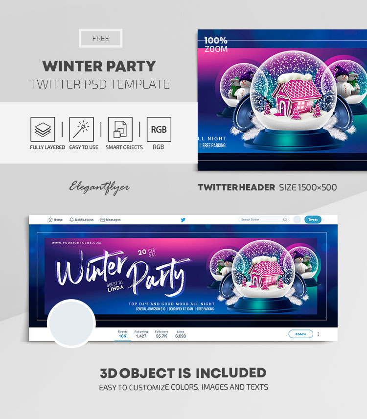 Winter Party – Free Twitter Header PSD Template