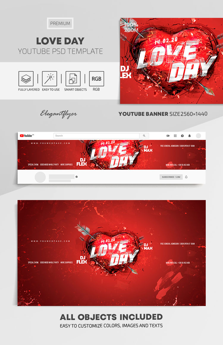 Love Day – Youtube Channel banner PSD Template