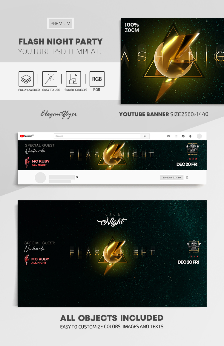 Flash Night Party – Youtube Channel banner PSD Template