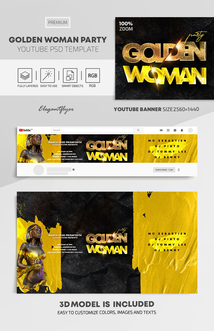 Golden Woman Party – Youtube Channel banner PSD Template