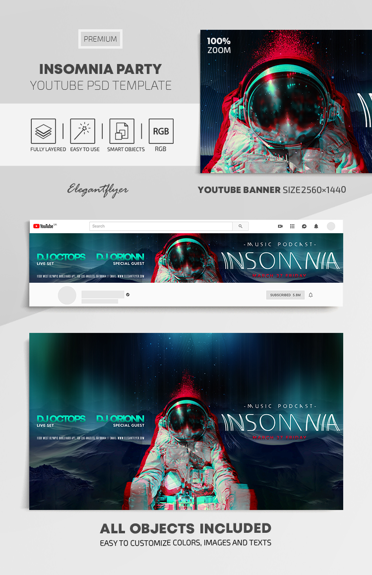 Insomnia Party – Youtube Channel banner PSD Template