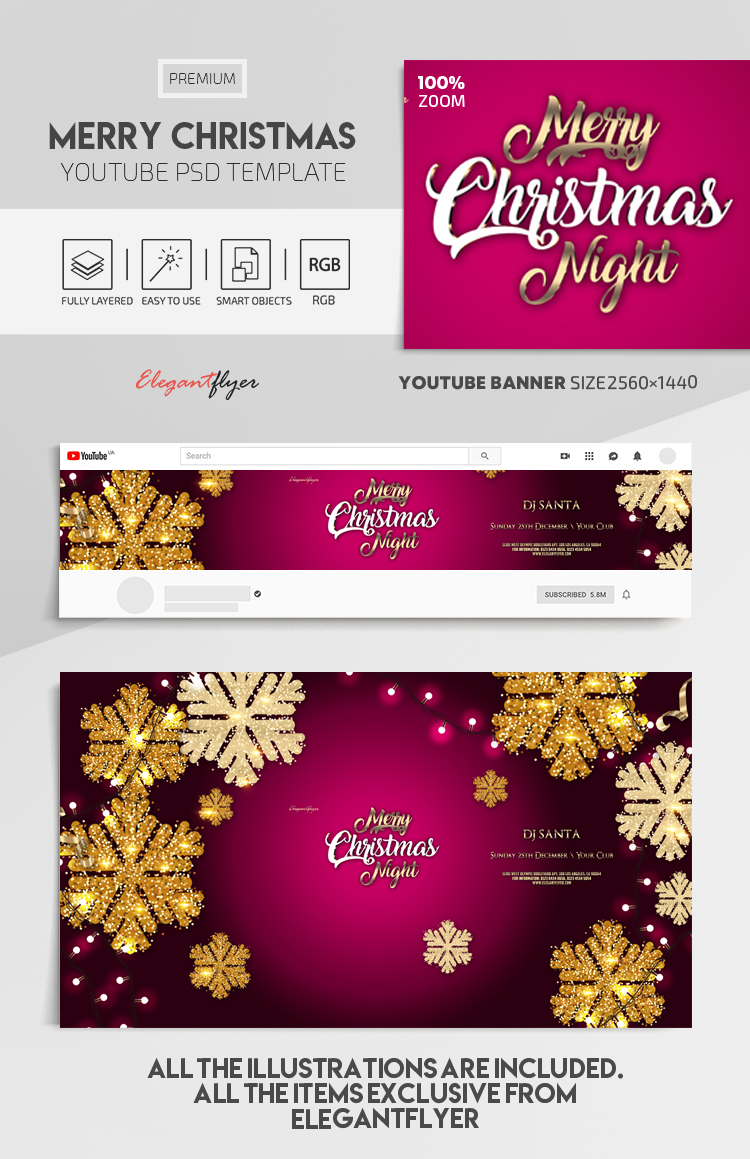 Merry Christmas Night – Youtube Channel banner PSD Template