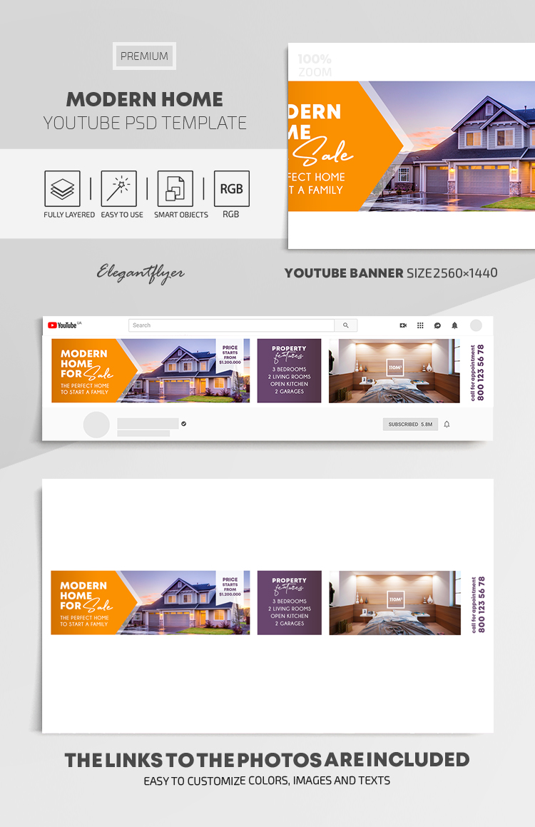 Modern Home – Youtube Channel banner PSD Template