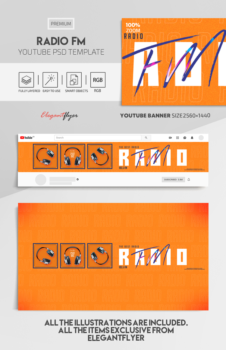 Radio FM – Youtube Channel banner PSD Template