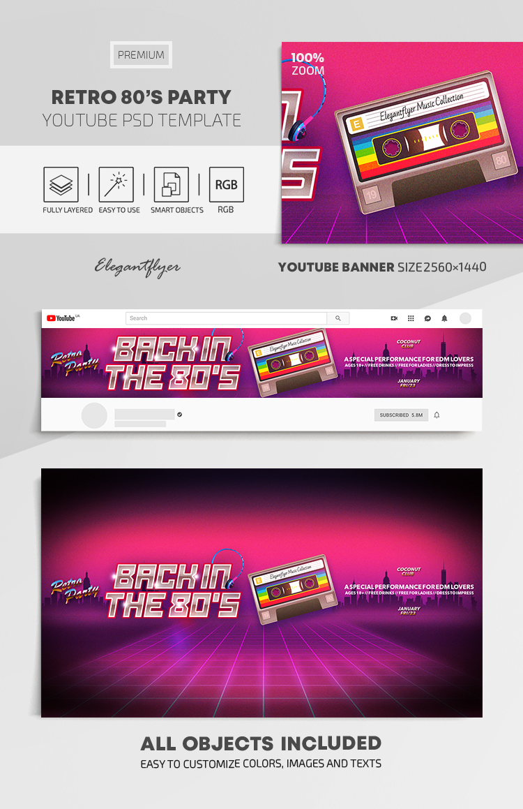 Retro 80's Party – Youtube Channel banner PSD Template