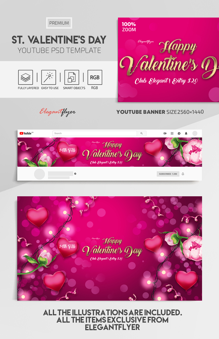 St. Valentine's Day – Youtube Channel banner PSD Template
