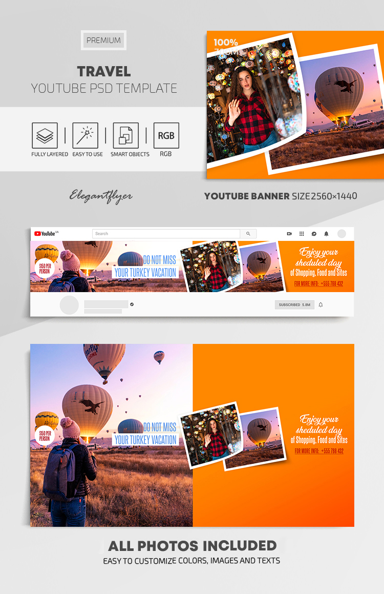 Travel – Youtube Channel banner PSD Template
