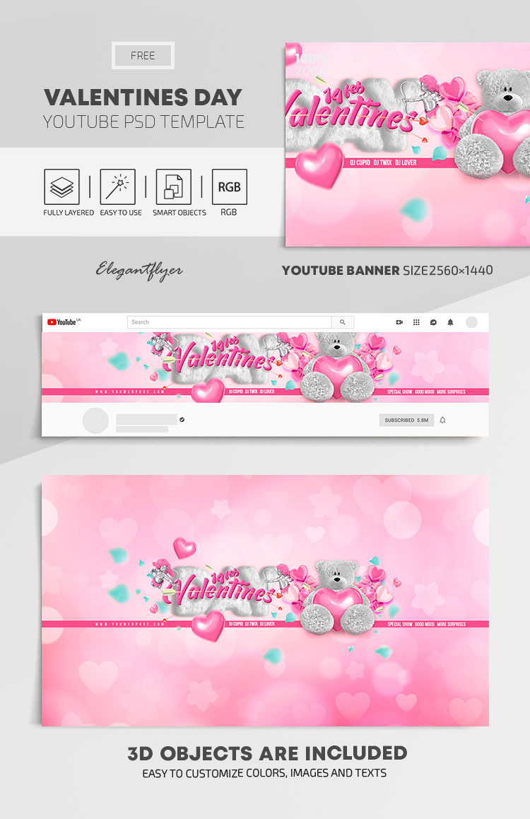 Valentines Day – Free Youtube Channel banner PSD Template