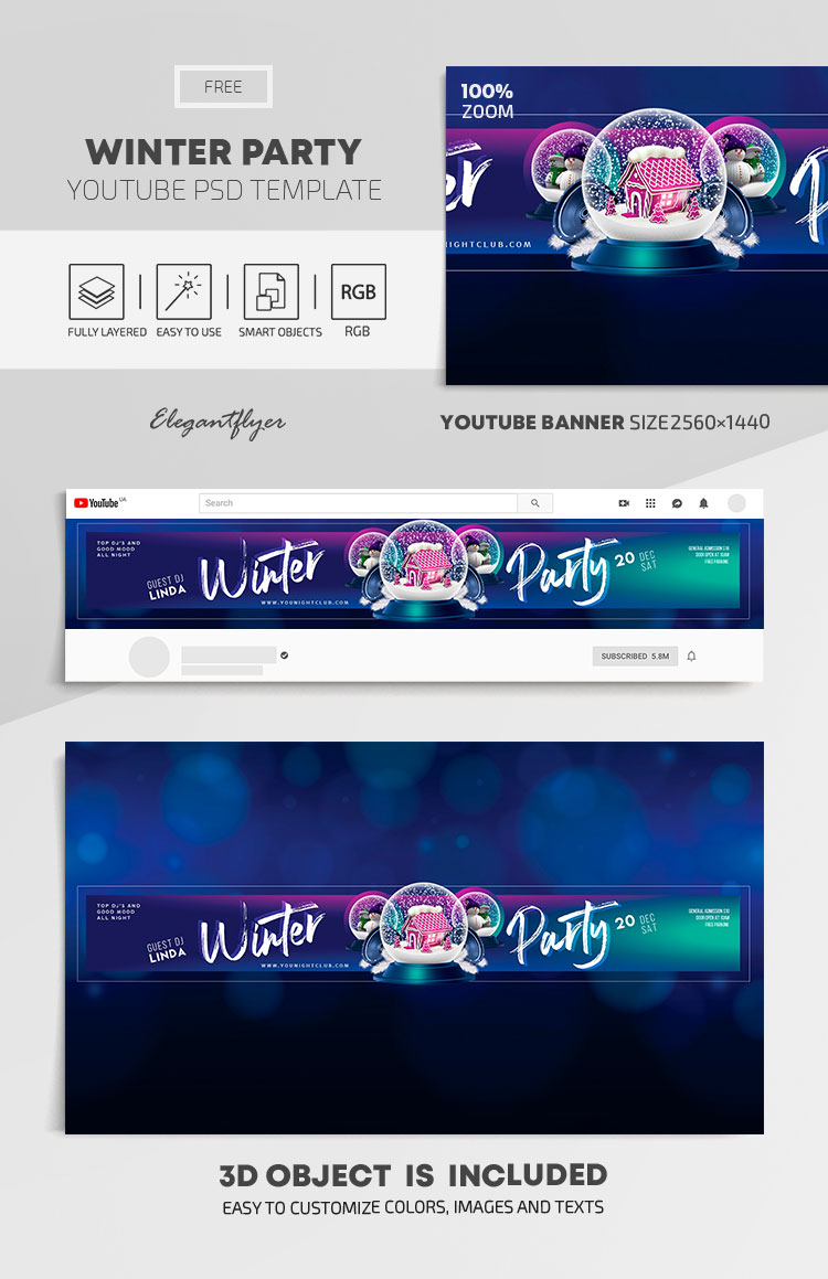 Winter Party – Free Youtube Channel banner PSD Template