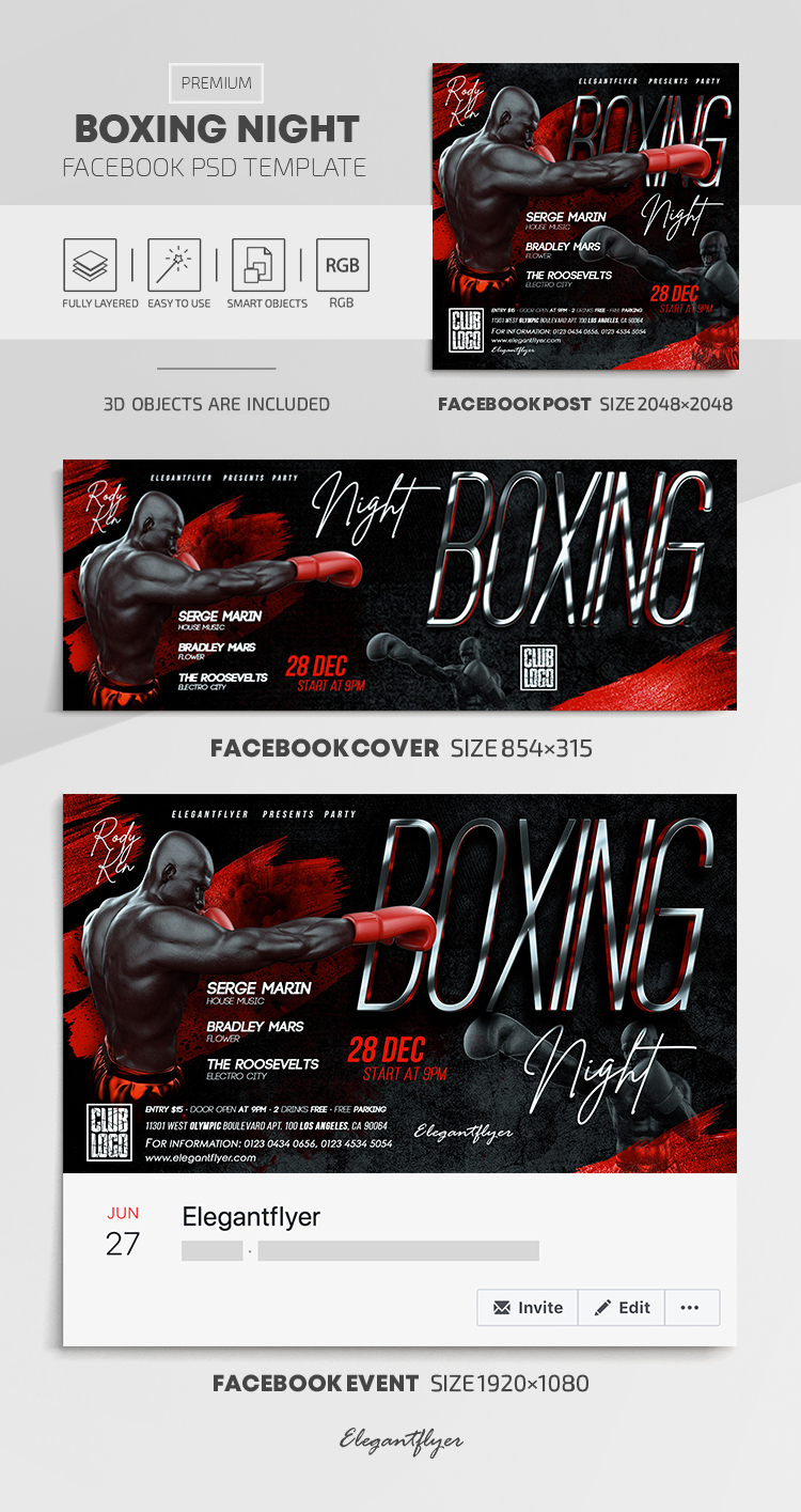Boxing Night – Facebook Cover Template in PSD + Post + Event cover