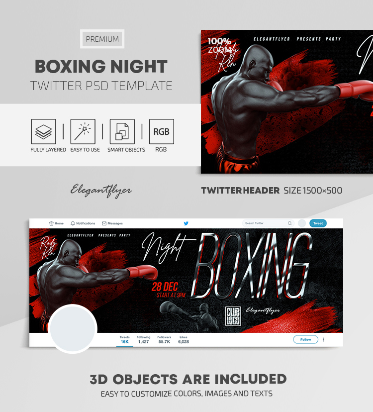 Boxing Night – Twitter Header PSD Template