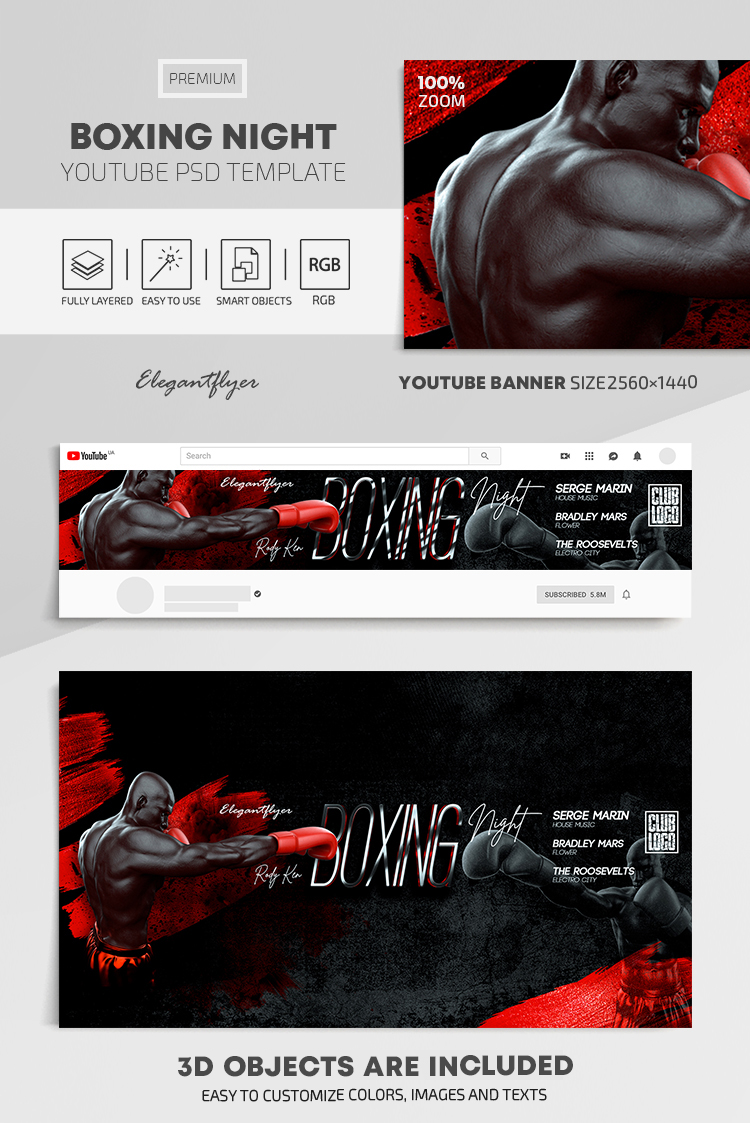 Boxing Night – Youtube Channel banner PSD Template