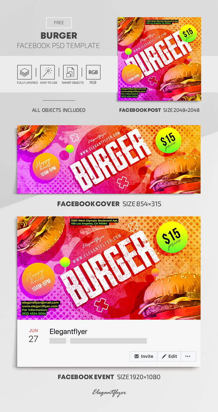 Burger – Free Facebook Cover Template in PSD + Post + Event cover