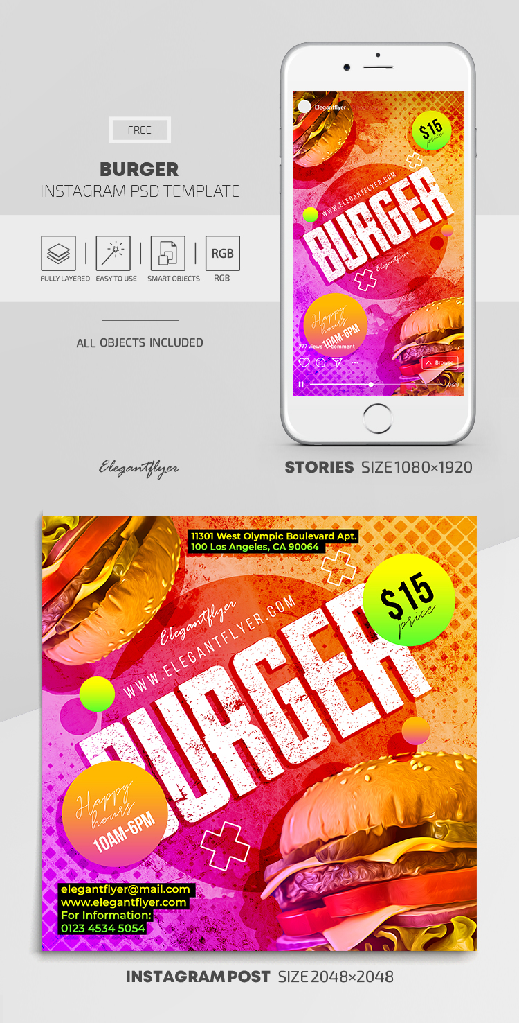 Burger – Free Instagram Stories Template in PSD + Post Templates