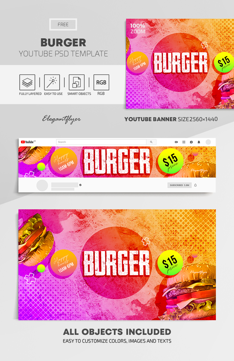 Burger – Free Youtube Channel banner PSD Template