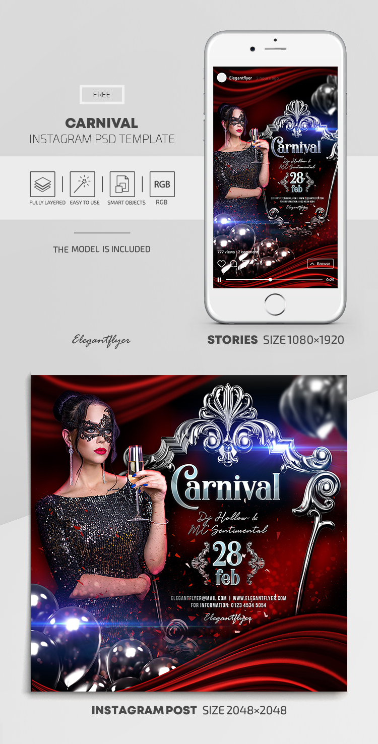 Carnival – Free Instagram Stories Template in PSD + Post Templates