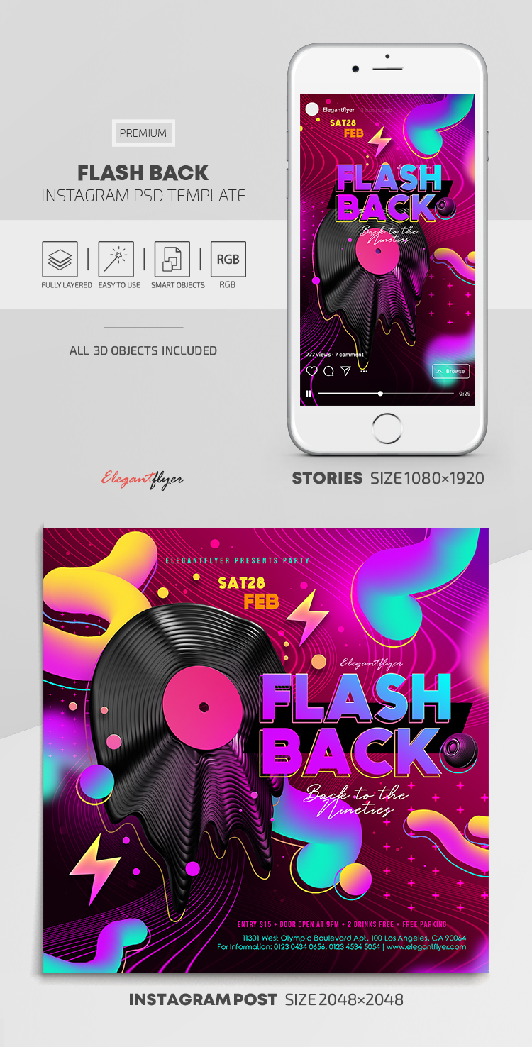 Flash Back – Instagram Stories Template in PSD + Post Templates