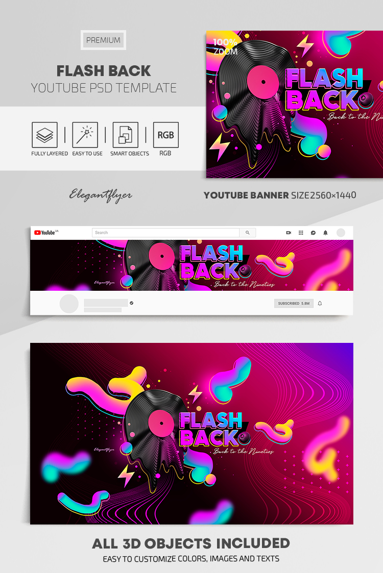 Flash Back – Youtube Channel banner PSD Template