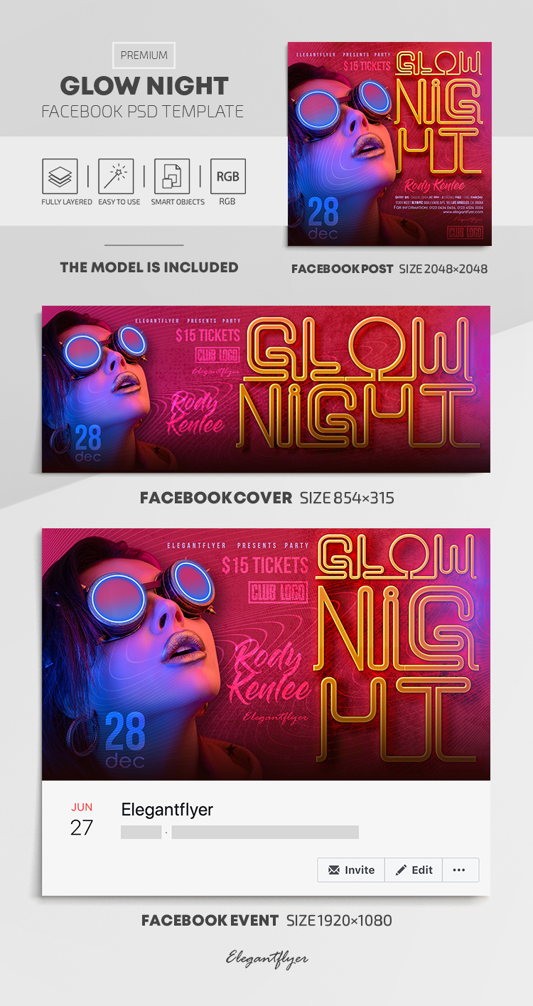 Glow Night – Facebook Cover Template in PSD + Post + Event cover