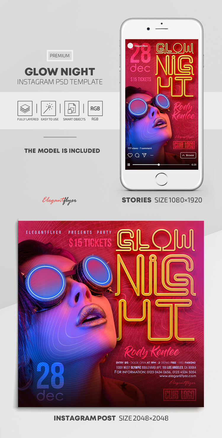 Glow Night – Instagram Stories Template in PSD + Post Templates