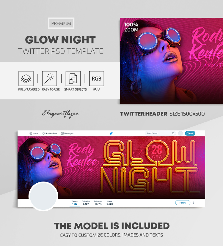 Glow Night – Twitter Header PSD Template