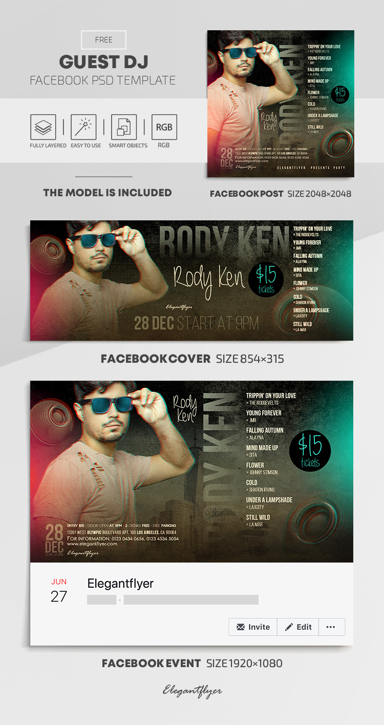 Guest DJ – Free Facebook Cover Template in PSD + Post + Event cover