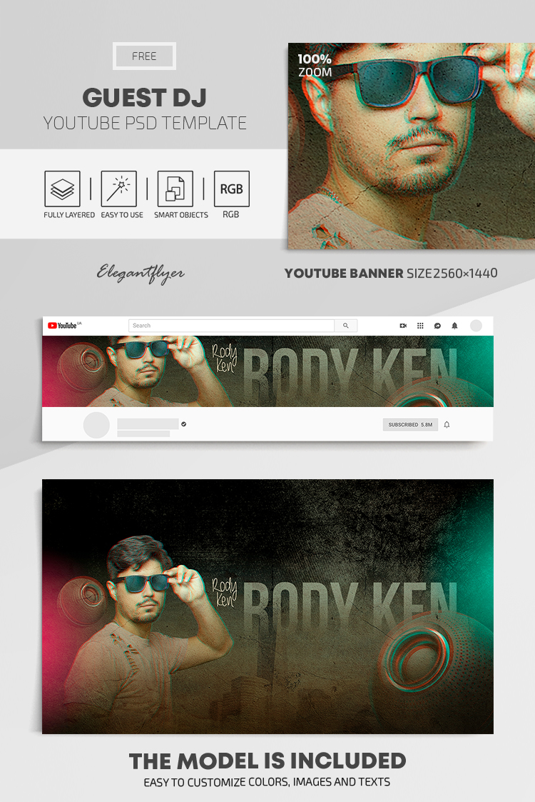 Guest DJ – Free Youtube Channel banner PSD Template