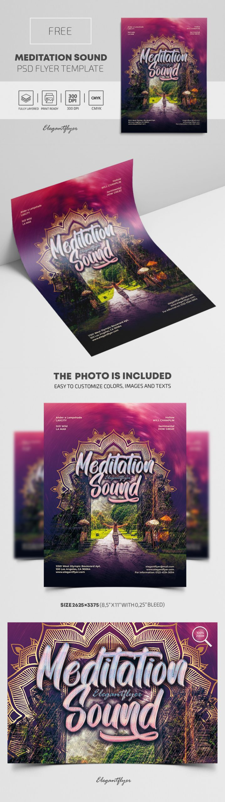 Meditation Sound – Free PSD Flyer Template