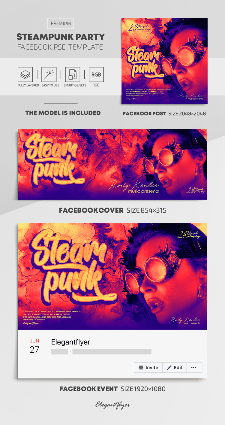 Steampunk Party – Facebook Cover Template in PSD + Post + Event cover