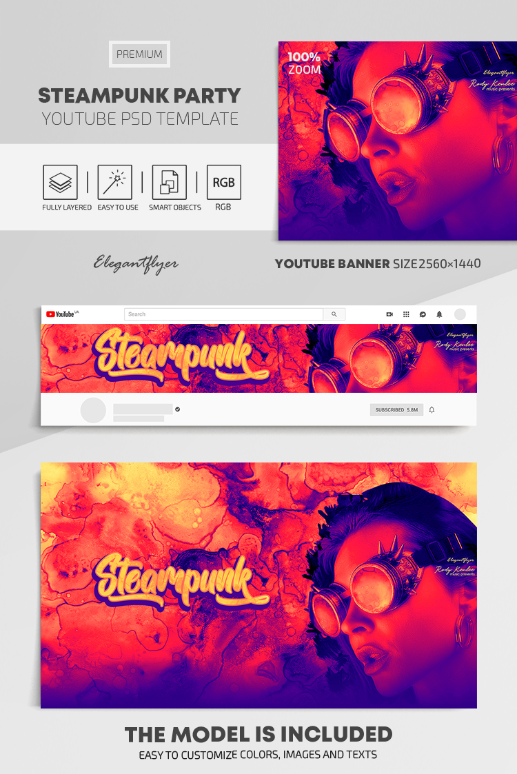 Steampunk Party – Youtube Channel banner PSD Template