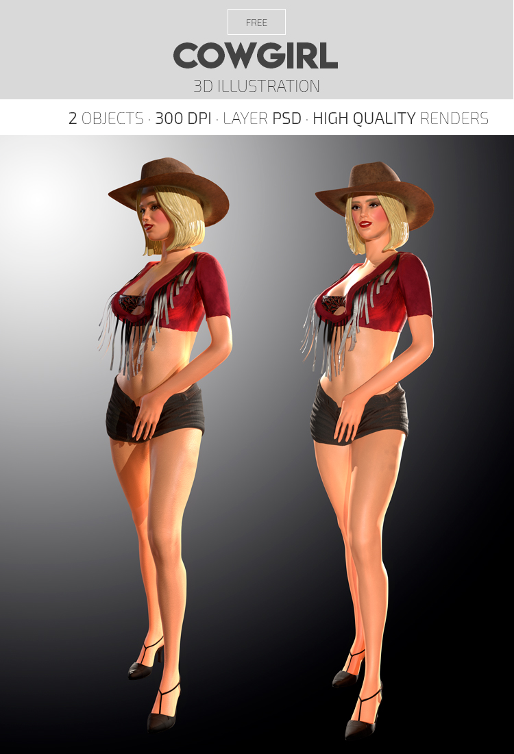 Cowgirl – Free 3d Render Templates