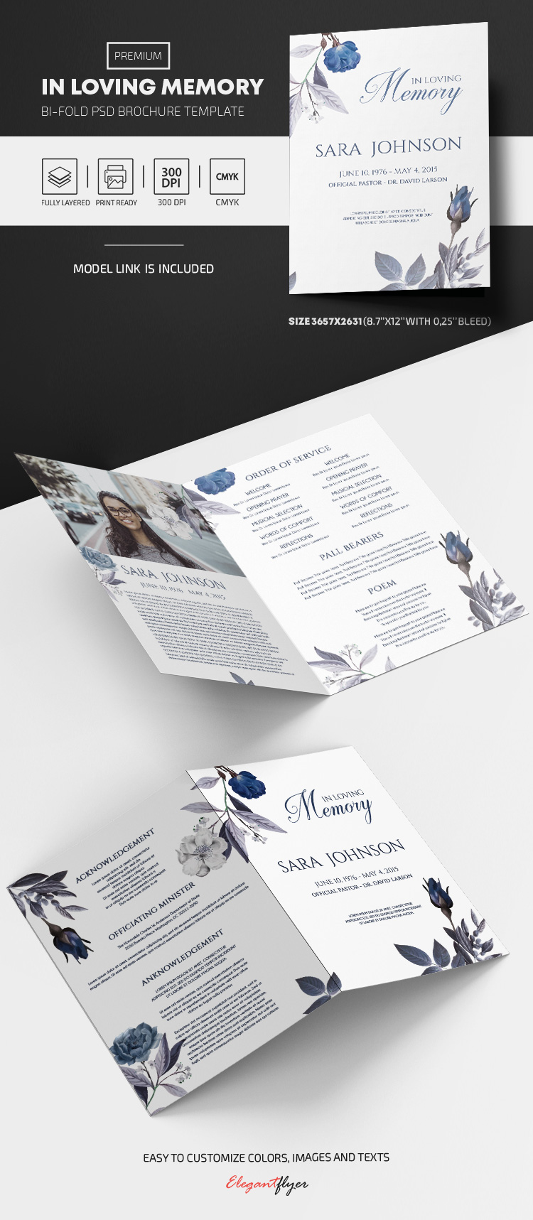 In Loving Memory – PSD Bi-Fold Brochure Template