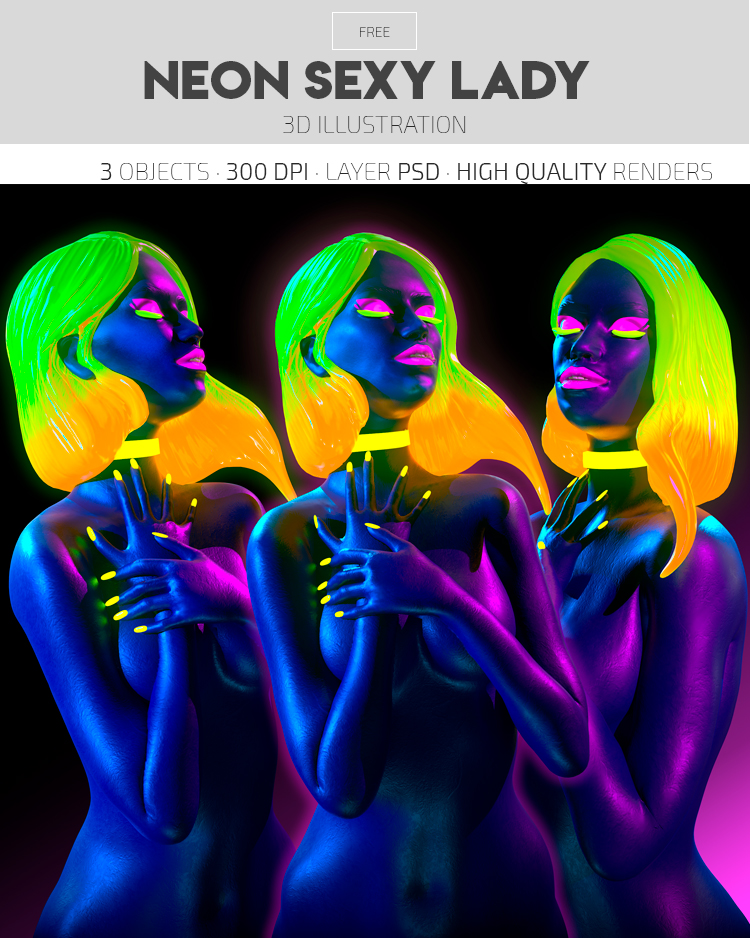 Neon Sexy Lady – Free 3d Render Templates