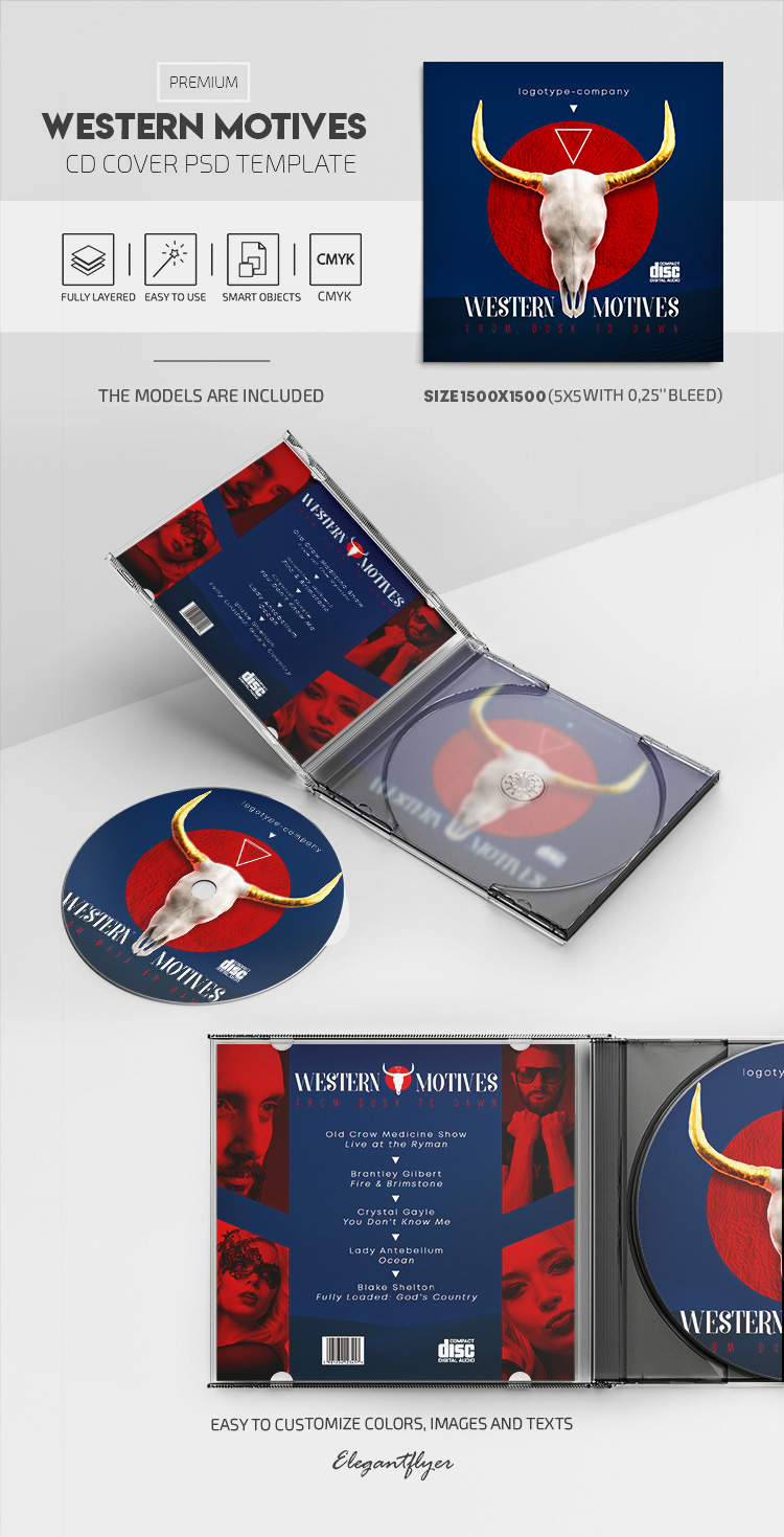 Western Skull – Premium CD Cover PSD Template
