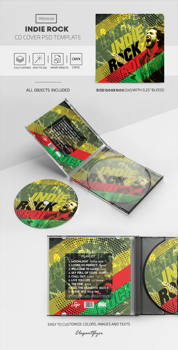 Indie Rock – Premium CD Cover PSD Template