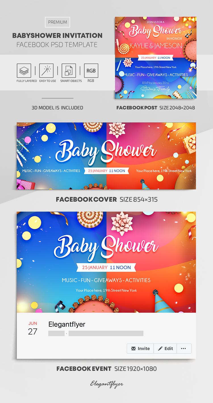 Baby Shower – Facebook Cover Template in PSD + Post + Event cover