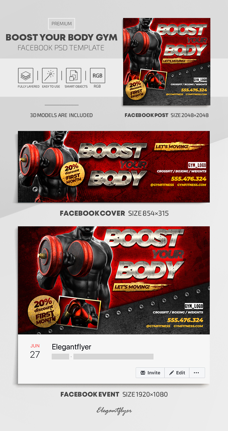 Boost Your Body GYM – Facebook Cover Template in PSD + Post + Event cover