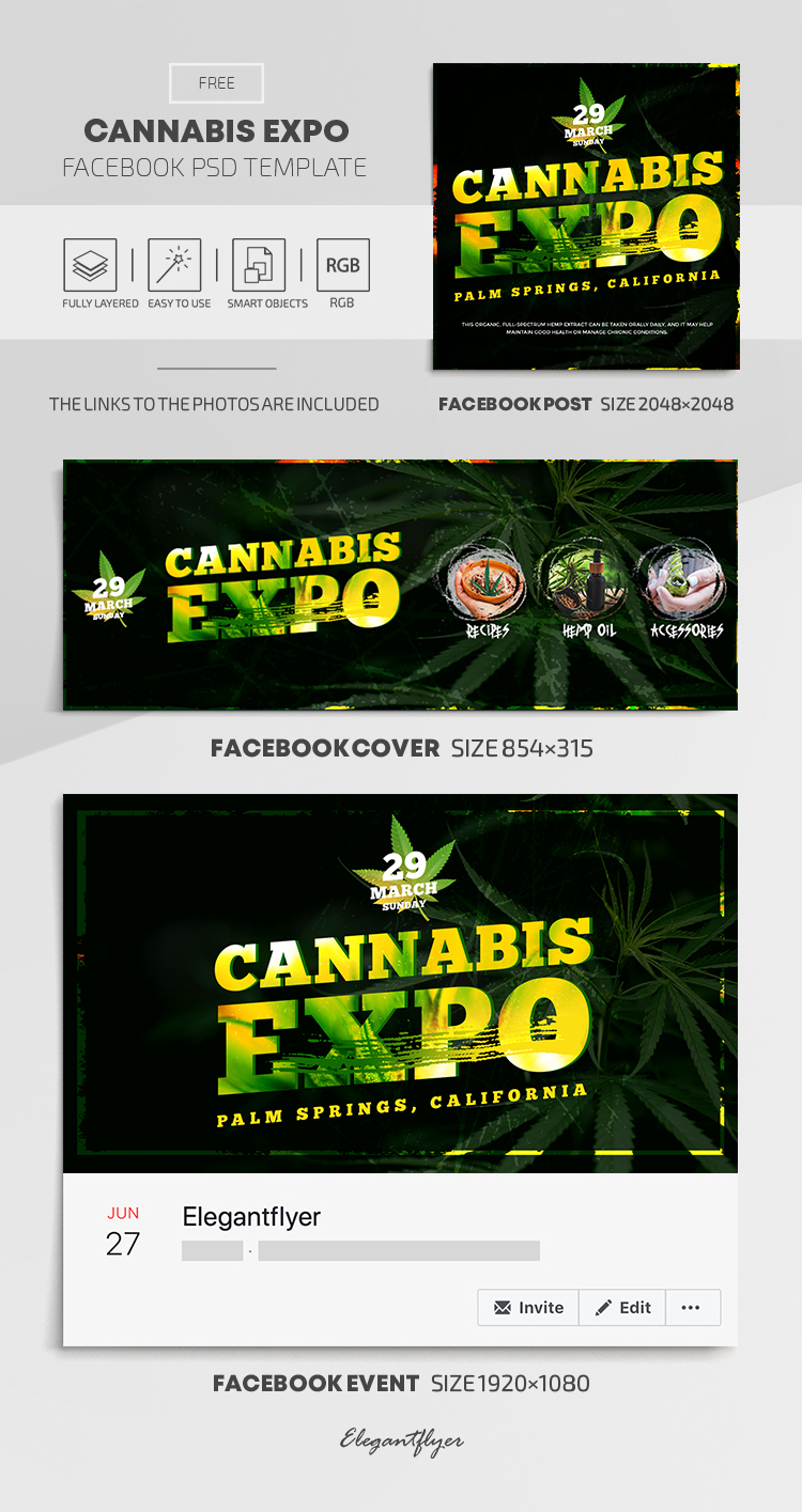 Cannabis Expo – Free Facebook Cover Template in PSD + Post + Event cover